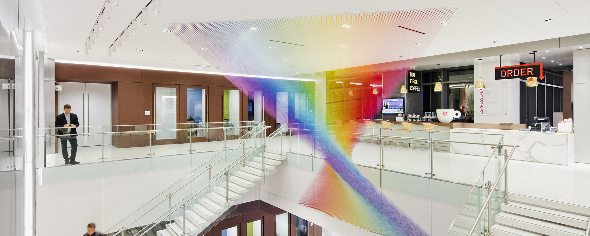 Gabriel Dawe, Plexus C23, 2018 Artwork displayed in the workplace through the Capital One Artwork Program