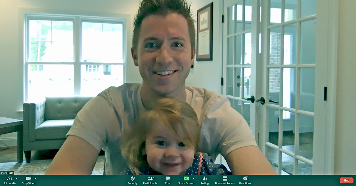 Dads working from home for Capital One with kids