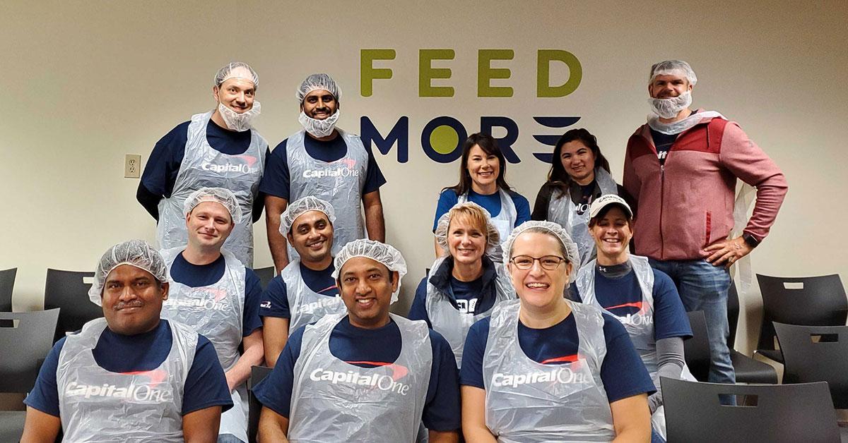 Capital One associates volunteering at Feed More food bank