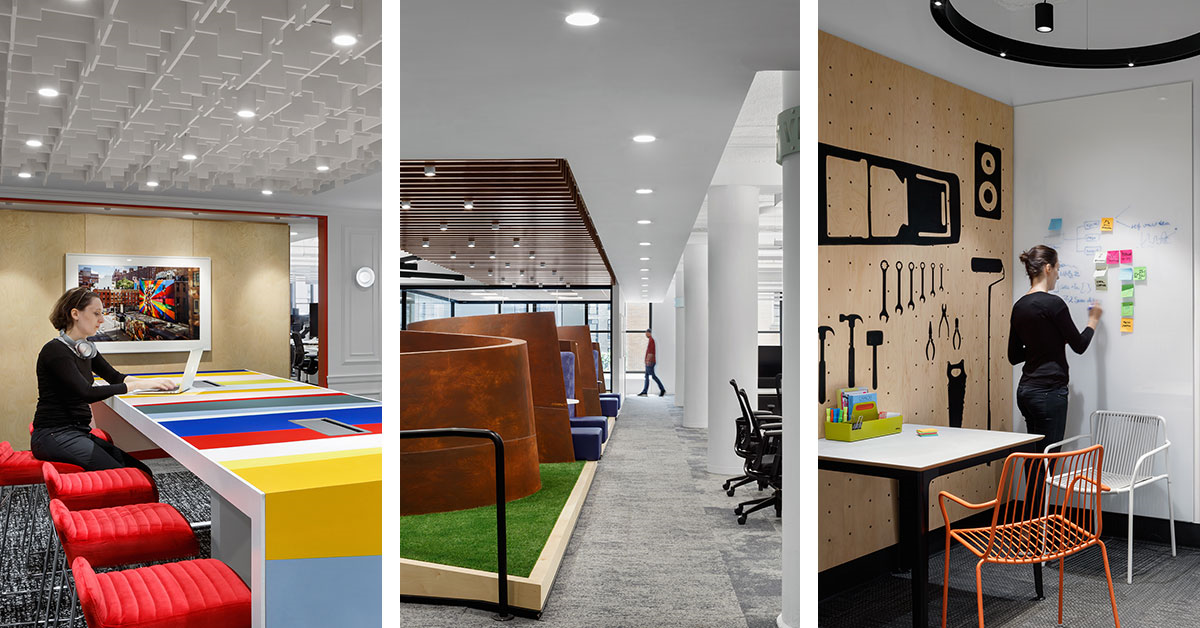 capital one new york office interior shots showcasing work spaces