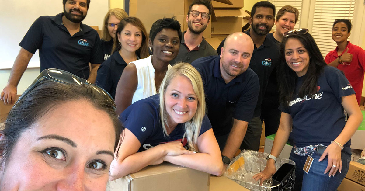 Capital One associates volunteering at the Frederick Rescue Mission in the food distribution center