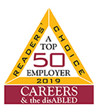 Readers Choice 2019. A top 50 employer. Careers & the disabled.
