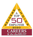 Readers Choice 2020. A top 50 employer. Careers & the disabled.