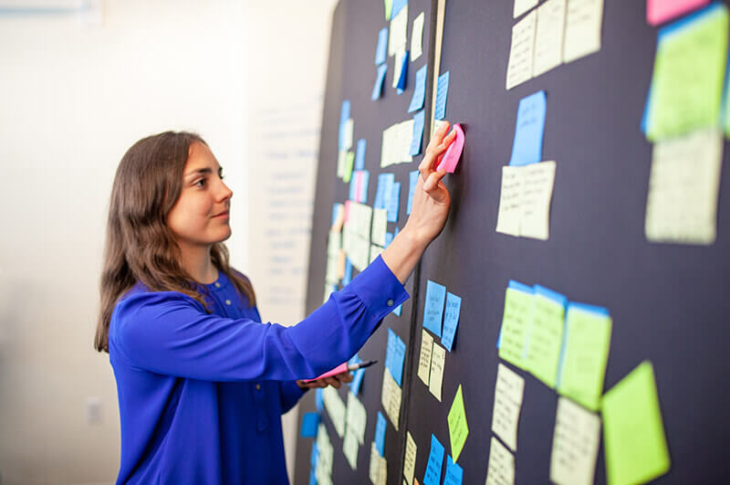 Picture of woman putting sticky notes on a blackboard