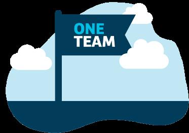 Illustration of flag saying One Team.