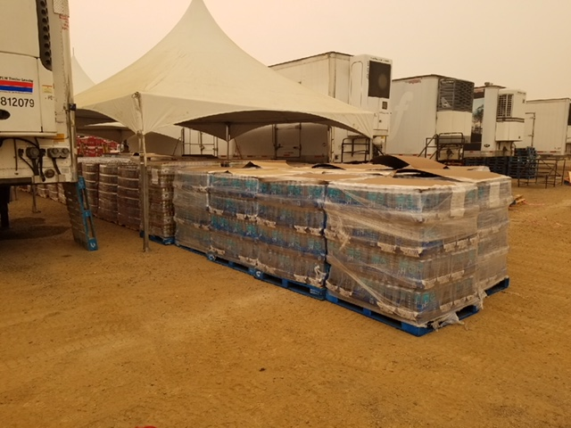 disaster relief crates of water