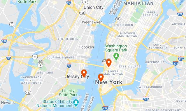 Jersey City, NJ Map
