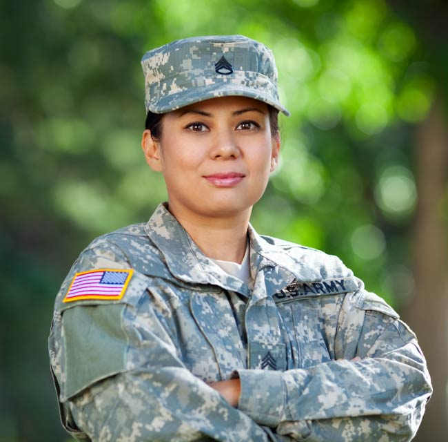 Military servicemember in uniform
