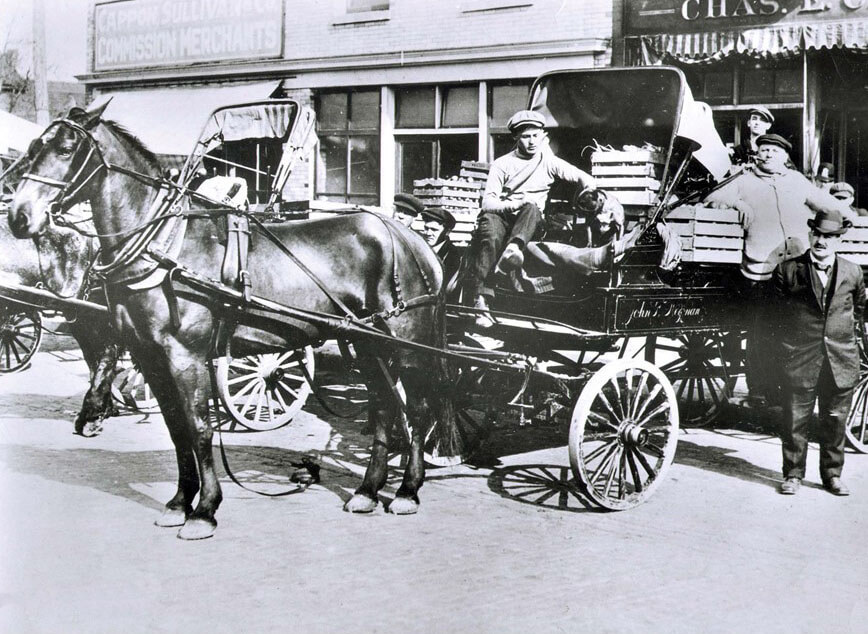 Horse drawn carriage loaded with produce