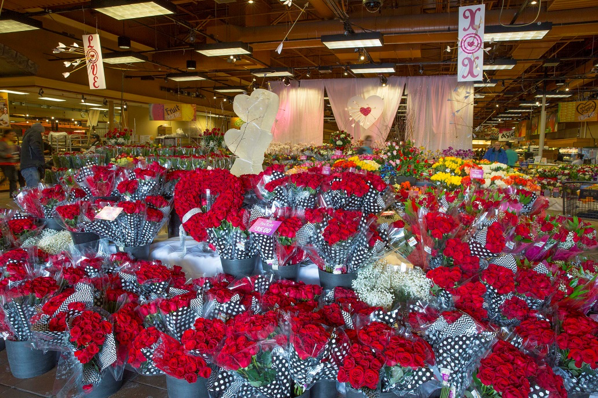 Large display of red roses