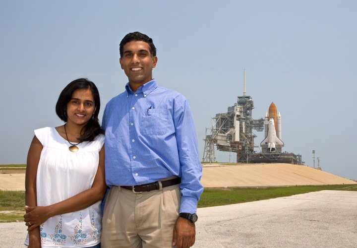 Suba Iyer with her husband, Hari, at Kennedy Space Center.