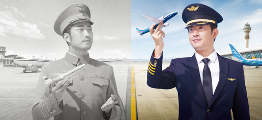 Pilots holding model aircraft