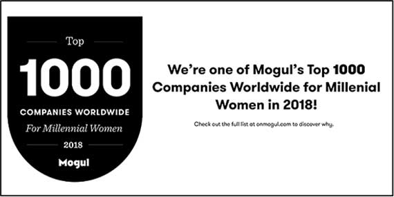 Moguls Top 1000 Company Worldwide for Women award