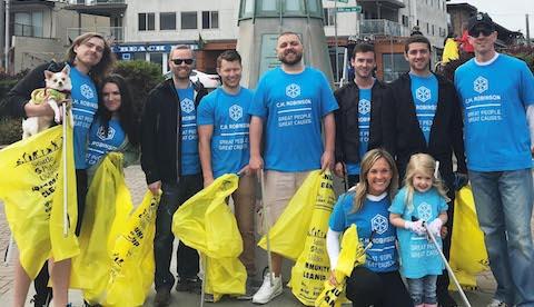 employees w/blue tshirts volunteering