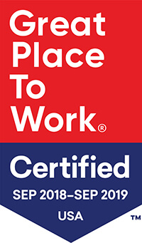 Vault: Top Ranked 2017 and Great Place to Work Certified Sept 2018 - Sept 2019