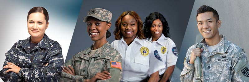 Three diverse military service members standing next to two security guards.
