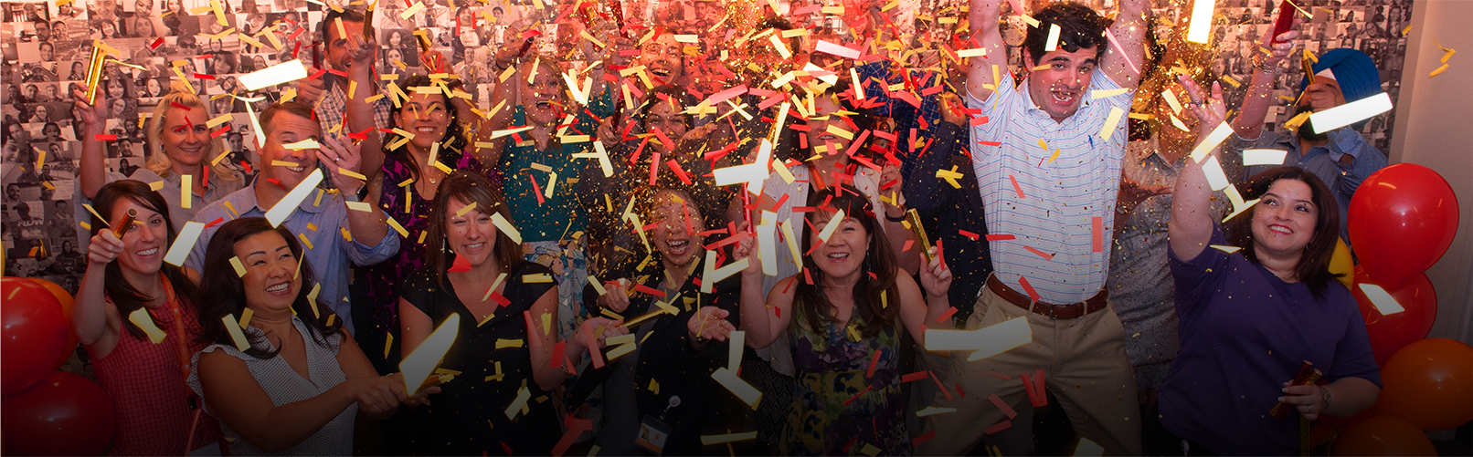 A large party with lots of confetti