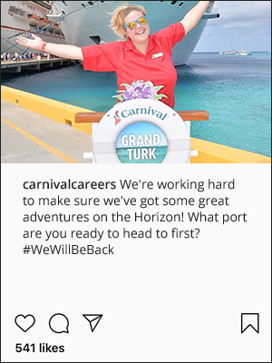 A post on Carnival's Facebook page of a cruise ship in tropical turquoise waters, with the caption 'Views like this never get old 😍 Where do you think we are?'