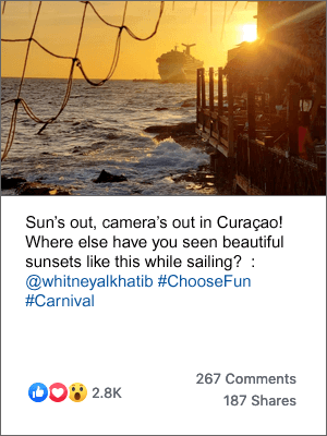 A post on Carnival's Facebook page of a beautiful sunset, with the caption 'Sun's out, camera's out in Curaçao! Where else have you seen beautiful sunsets like this while sailing?'