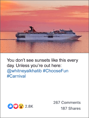 A post on Carnival's Facebook page of a Carnival ship against the backdrop of a beautiful pink sunset, with the caption'You don't see sunsets like this every day. Unless you're out here'
