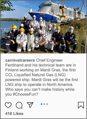 A post on Carnival's Facebook page of chief engineer ferdinand and his technical team