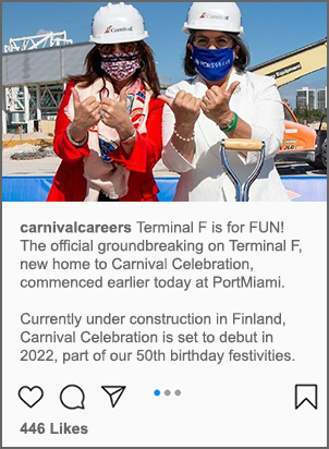 A post on Carnival's Facebook page of terminal f