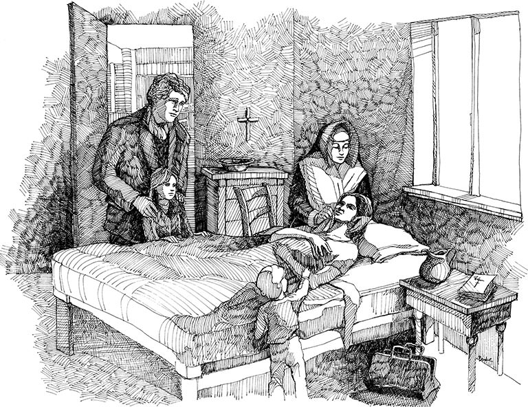 Black and white drawing of patient in bed