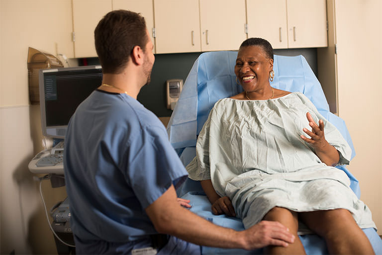 Patient talking with Nurse