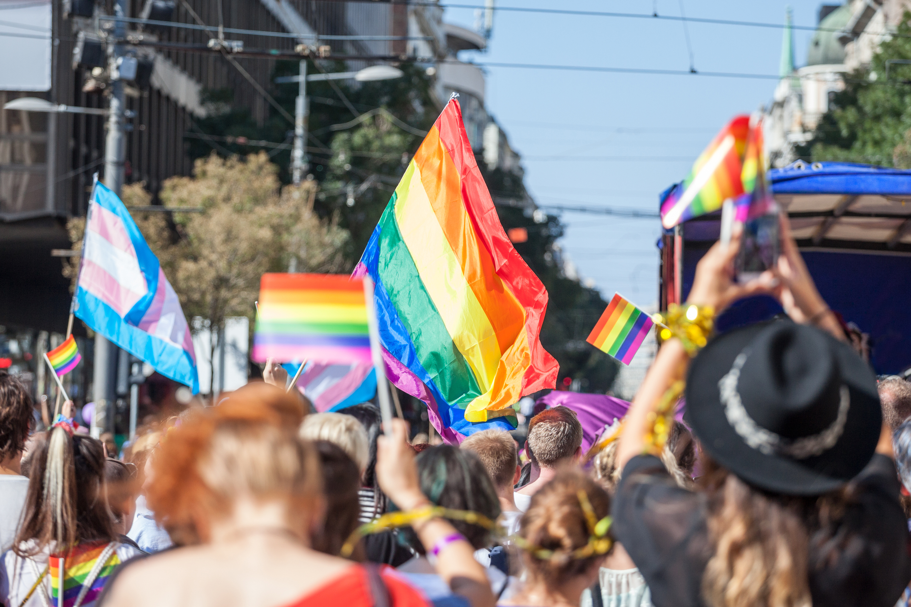 Crowd with rainbow flags