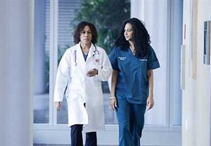 Doctor and nurse walking