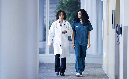 Doctor and nurse walking