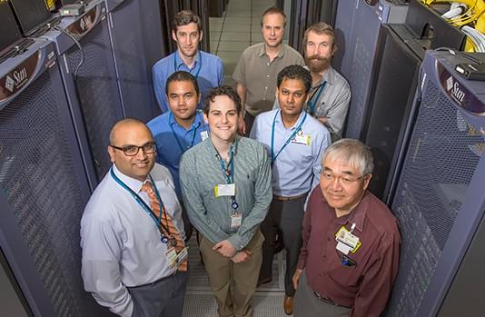 group of employees in a data center