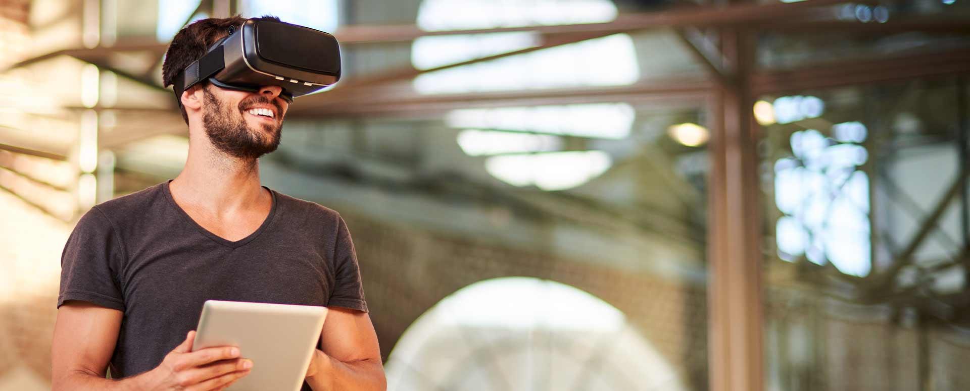 A man wearing a VR gear