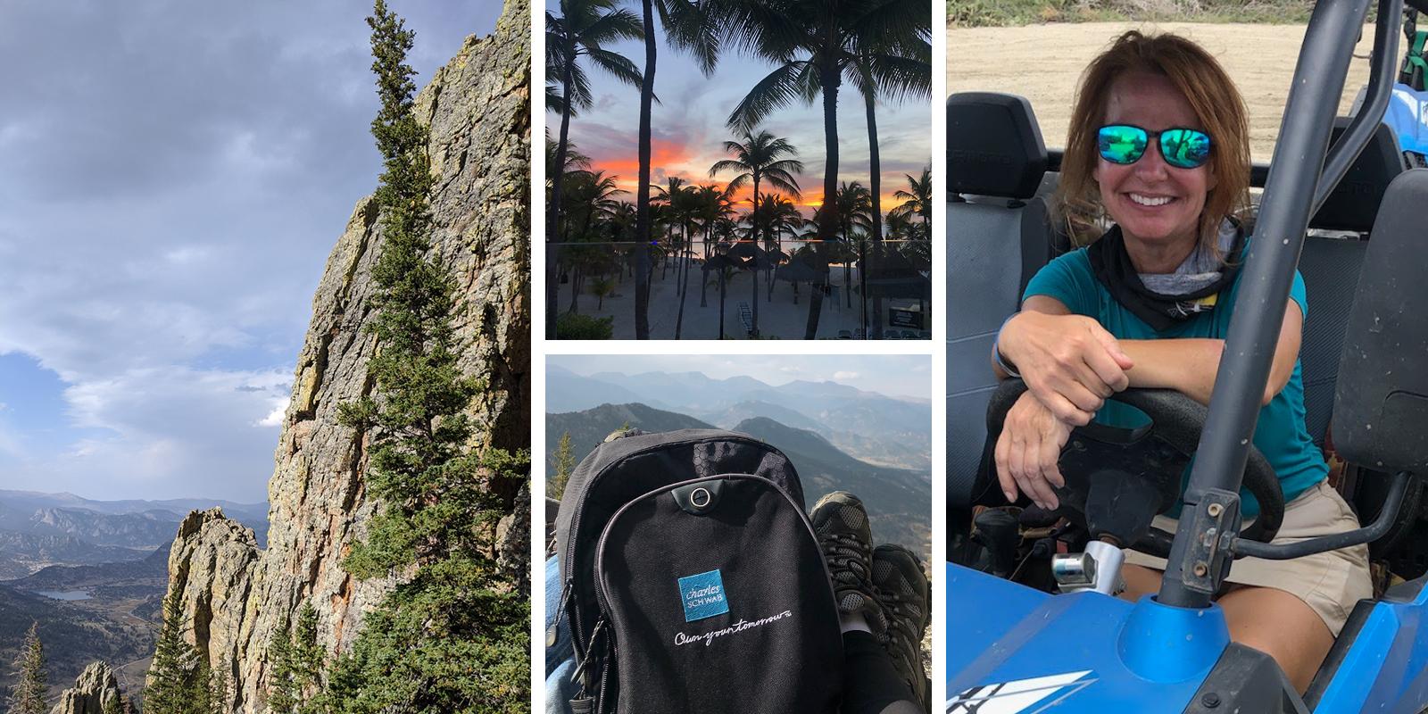 Schwabbie Kristen on her sabbatical with her Schwab backpack and pictures of nature.