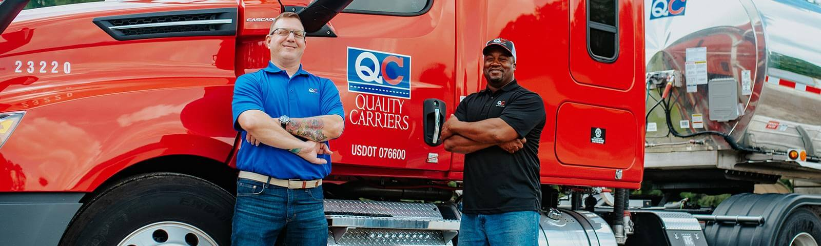 Two employees standing in front of a Truck