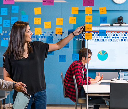 Designer working through elements