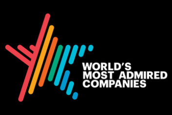 Photo of a star graphical treatment in bright colors that say World's Most Admired Companies.