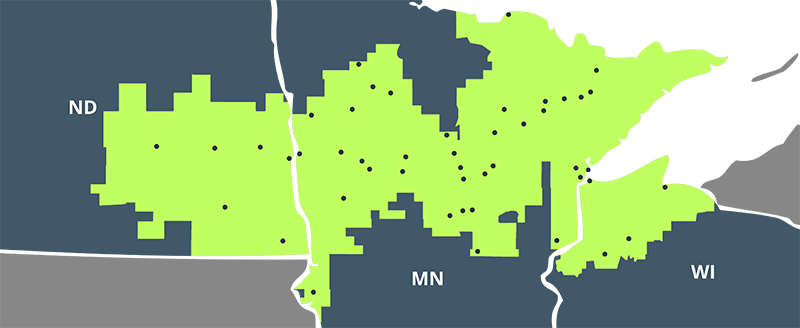 Map of North Dakota, Minnesota and Wisconsin