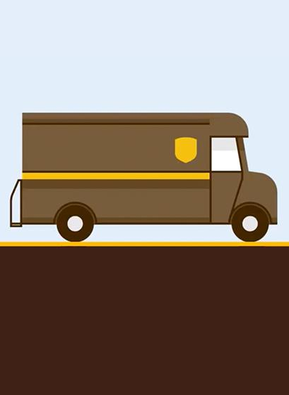 Cartoon graphic of delivery van