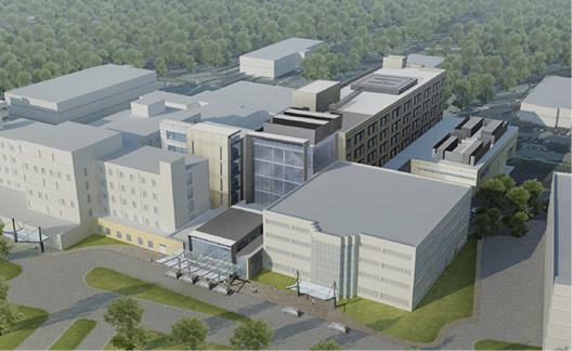 An aerial view of a 3D model of a planned hospital building