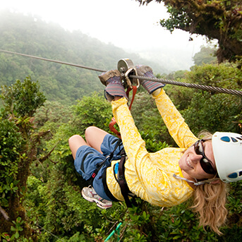 Woman using zipline