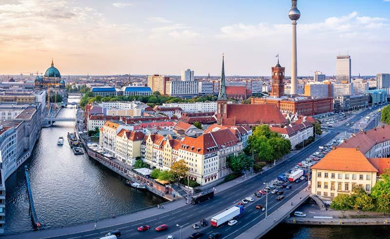 Landscape view of German city