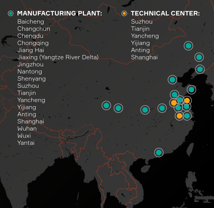 Aptiv locations listed in China