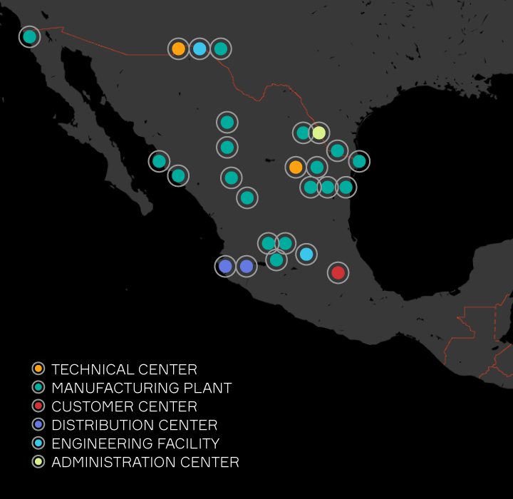 Aptiv locations listed in Mexico
