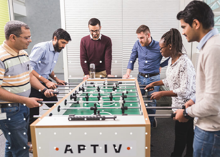 Group of Aptiv Employees flaying Fussball / Fußball