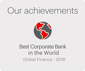 Our achievements.  Best Corporate Bank in the World.  Global Finance - 2018