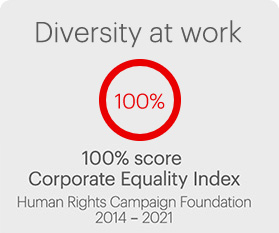Diversity at work 100% score Corporate Equality Index - Human Rights Campaign Foundation 2014 - 2021
