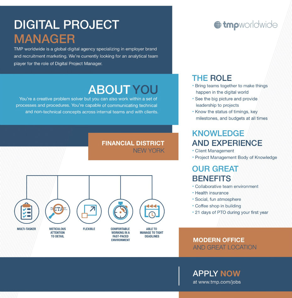 digital project manager As jr digital project manager, you will work closely with the senior digital project manager and others to ensure timely and accurate delivery of digital projects within our marketing agency, being involved in all aspects of the development process.