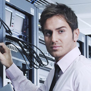 Guy working on server