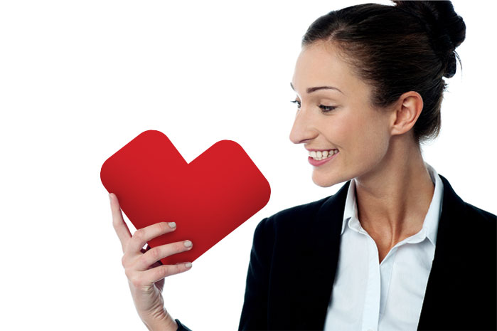 lady holding cvs heart